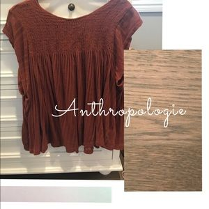 Anthropologie Rust Smocked Swing Tunic